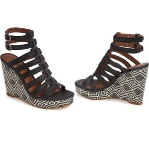 Lucky Brand Labelle Caged Wedge Sandal Heel Woven